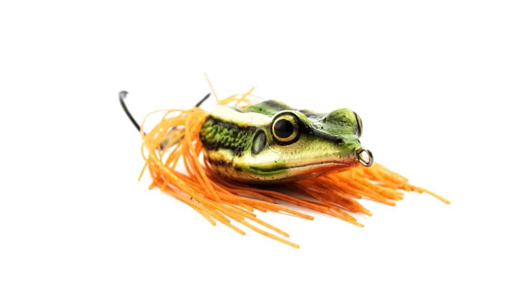An example of a lure shaped like a frog is pictured