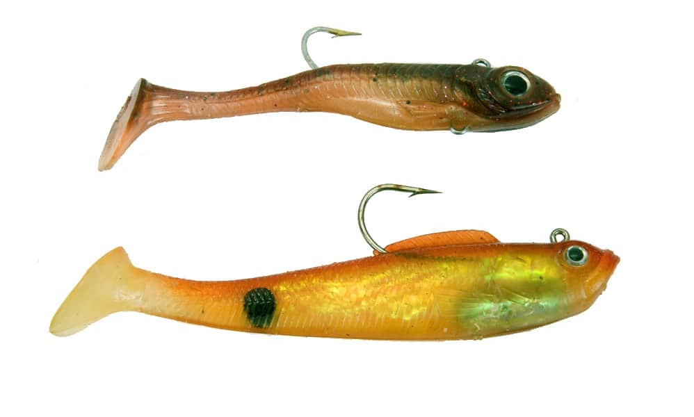 An example of lures shaped like gobies are pictured